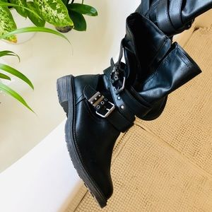 SO Motorcycle Round Toe Boot Black  Katsura